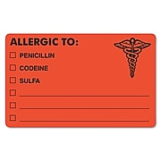 """Tabbies® Medical Labels """"ALLERGIC TO:"""", 2 1/2"""" x 4"""", Fluorescent Red, 100/Roll"""