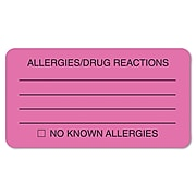 """Tabbies® Labels """"ALLERGIES/DRUG REACTIONS"""", 1 3/4"""" x 3 1/4"""", Fluorescent Pink, 250/Roll"""