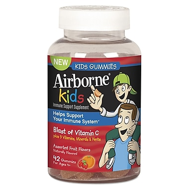 Airborne® Immune Support Supplement Gummies For Kids, Assorted Fruit, 42/Pack