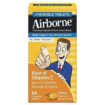 Airborne Immune Support Supplement Chewable Tablets, Citrus,