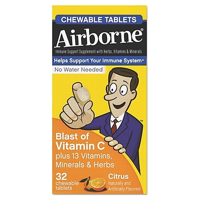 Airborne® Immune Support Chewable Tablets, Citrus, 32/Pack