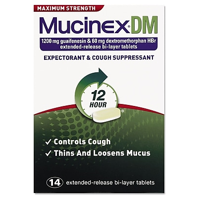 Mucinex® DM Max Strength Expectorant and Cough Suppressant Tablets; 12 Hour Relief, 14/Pack