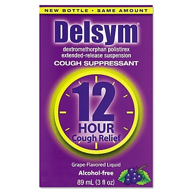 Delsym® Alcohol Free Adult Cough Suppressant, 12 Hour Relief, Grape, 3 oz. Bottle