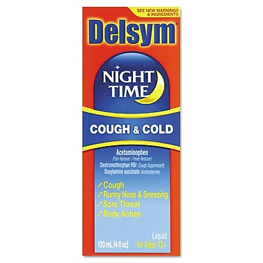 Delsym® Adult Night Time Cough and Cold Liquid, Cherry, 4 oz. Bottle