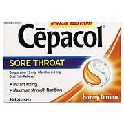 Cepacol® Extra Strength Sore Throat Oral Pain Reliever, Honey Lemon, 16 Lozenges/Pack (63824-73016)
