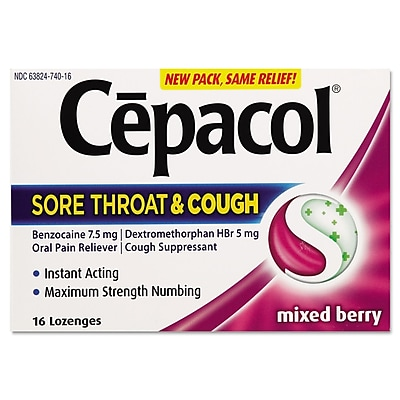 Cepacol® Extra Strength Sucrose-Free Lozenges, Mixed Berry, 16/Pack
