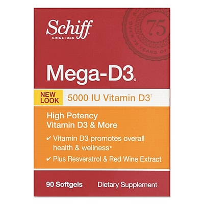 Schiff® Mega Vitamin D3 Softgels, 90/Pack