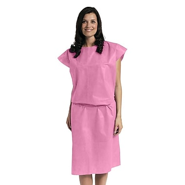 Medline® Disposable Multi Layer Patient Gowns, Regular/Large, Pink