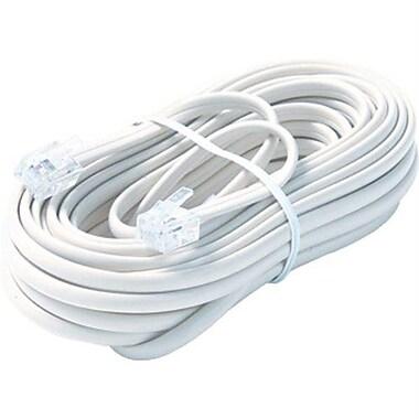 STEREN® 25' 6-Wire Premium Mod Telephone Line Cable, White