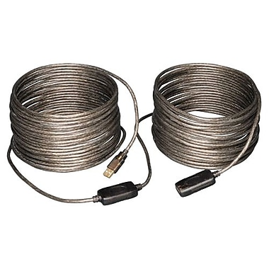 Tripp Lite 65' USB 2.0 Male to Female Extension Repeater Cable, Gray