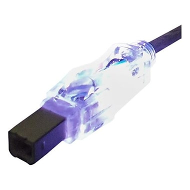 QVS® 6' USB 2.0 A/B Male Lighted Cable With Purple LEDs, Translucent