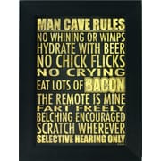 "Man Cave Rules, Framed, 12"" x 18"""