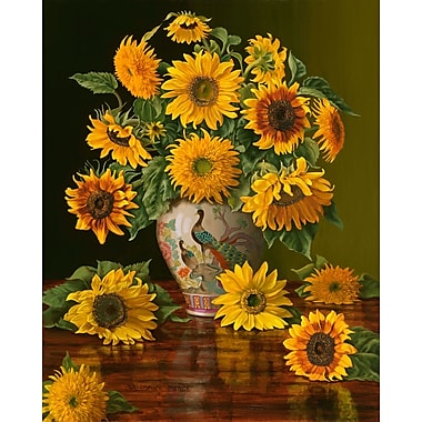 Sunflowers In A Peacock Vase, Canvas, 24