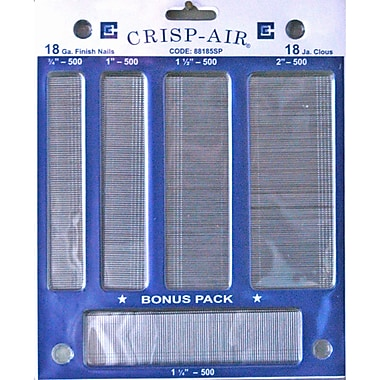 Crisp-Air Brad Nails, Variety Pack, 5 Sizes, 18 Gauge, 2,500/Pack