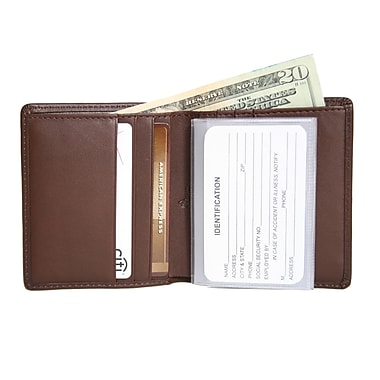 Royce Leather Men's Two-Fold Wallet, Coco, Silver Foil Stamping, 3 Initials