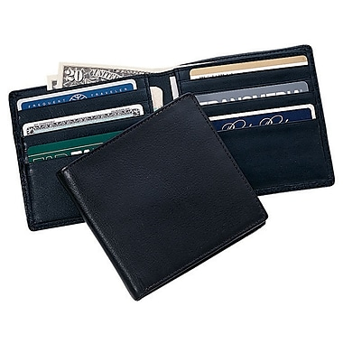 Royce Leather Hipster Wallet, Black, Silver Foil Stamping, 3 Initials