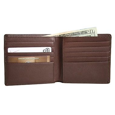 Royce Leather Hipster Wallet, Coco, Silver Foil Stamping, Full Name