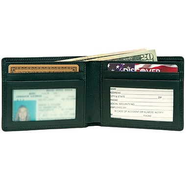 Royce Leather Men's Bifold Credit Card Wallet in Genuine Leather, Debossing, Full Name