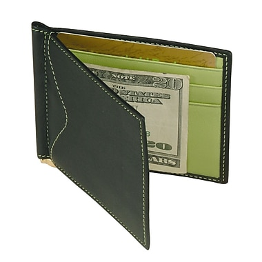 Royce Leather Men's Cash Clip Wallet with Outside Pocket, Key Lime Green, Debossing, 3 Initials