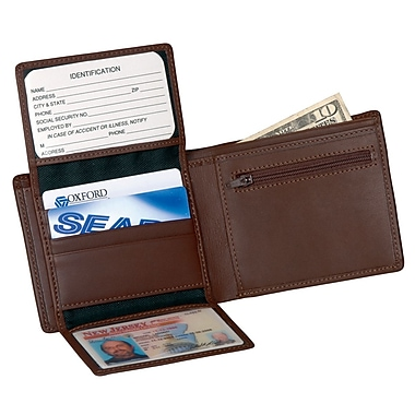 Royce Leather Commuter Wallet, Coco, Silver Foil Stamping, 3 Initials