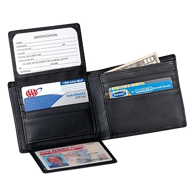 Royce Leather Euro Commuter Wallet , Black, Silver Foil Stamping, Full Name