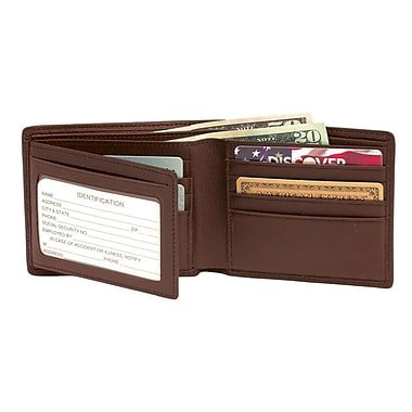 Royce Leather Men's RFID Blocking Bi-Fold Wallet with Double ID Flap, Coco, Gold Foil Stamping, 3 Initials