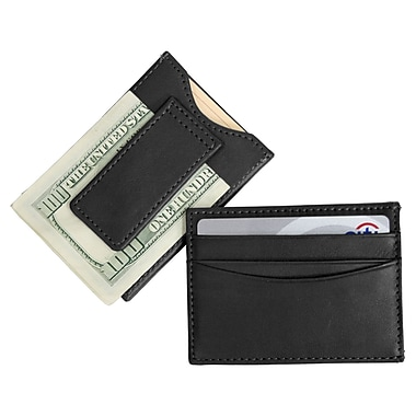 Royce Leather Magnetic Money Clip Wallet, Black, Silver Foil Stamping, 3 Initials