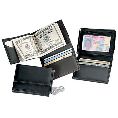 Royce Leather Men's Money Clip Wallet, Black, Silver Foil Stamping, Full Name