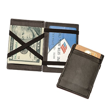 Royce Leather Magic Wallet, Black, Silver Foil Stamping, Full Name