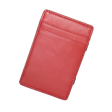 Royce Leather – Portefeuille magique, rouge, estampage argenté, 3 initiales