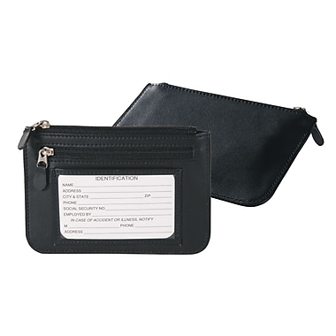 Royce Leather Slim City Wallet, Black, Silver Foil Stamping, Full Name