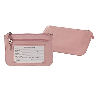 Royce Leather Slim City Wallet, Carnation Pink, Debossing, 3 Initials