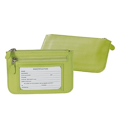 Royce Leather Slim City Wallet, Key Lime Green, Debossing, 3 Initials