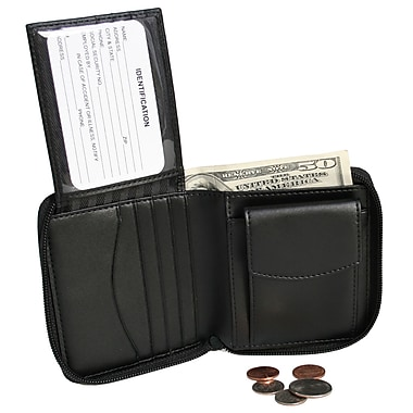 Royce Leather Zip Around Wallet, Black, Debossing, Full Name