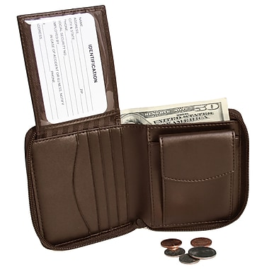 Royce Leather Zip Around Wallet, Brown, Silver Foil Stamping, 3 Initials