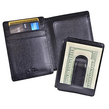 Royce Leather Money Clip ID Wallet, Black, Debossing, 3 Initials
