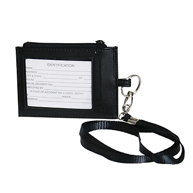Royce Leather Classic Lanyard, Black, Silver Foil Stamping, Full Name