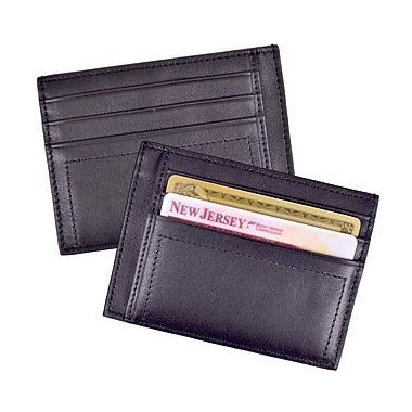 Royce Leather Men's Card Case, Black, Debossing, Full Name