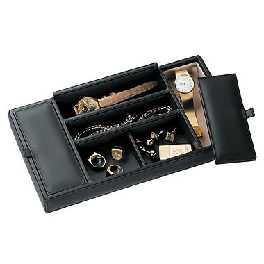 Royce Leather Men's Valet Tray, Top Grain Nappa Leather, Black, Silver Foil Stamping, 3 Initials