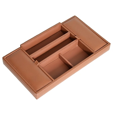 Royce Leather Men's Valet Tray, Top Grain Nappa Leather, Tan, Debossing, 3 Initials
