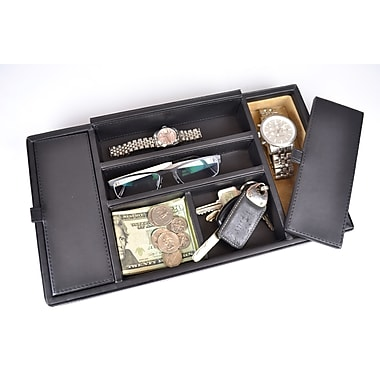 Royce Leather Men's Valet Tray, Milano Feather Lite Man-made Leather, Black, Silver Foil Stamping, 3 Initials