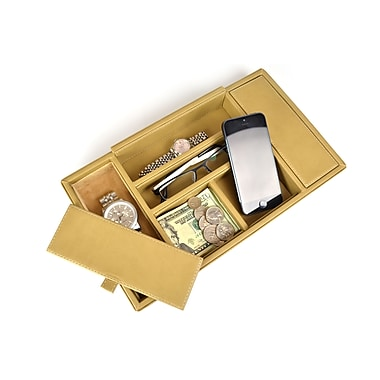 Royce Leather Men's Valet Tray, Milano Feather Lite Man-made Leather, Tan, Gold Foil Stamping, 3 Initials