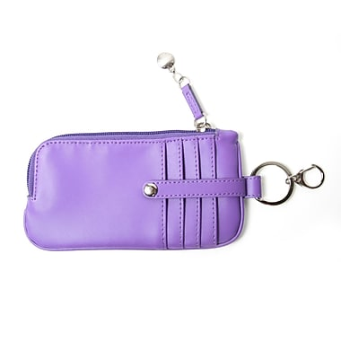 Royce Leather Chic Phone, ID and Credit Card Wallet, Purple, Silver Foil Stamping, 3 Initials