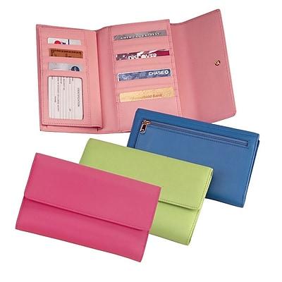 Royce Leather Women's Checkbook Clutch Key Lime Green