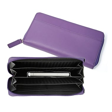 Royce Leather – Portefeuille éventail pour iPhone, violet, estampage or, nom complet