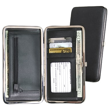 Royce Leather Slim Framed Wallet, Black, Silver Foil Stamping, 3 Initials