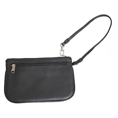 Royce Leather Slim Wristlet, Black, Silver Foil Stamping, 3 Initials
