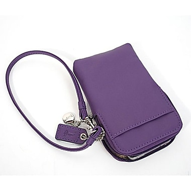 Royce Leather – Étui chic avec dragonne pour iPhone ou appareil photo, violet, estampage argenté, nom complet