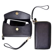 Royce Leather Saffiano Slim Cellphone Wallet Black