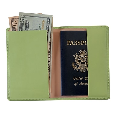 Royce Leather – Porte-passeport, vert lime, estampage argenté, 3 initiales
